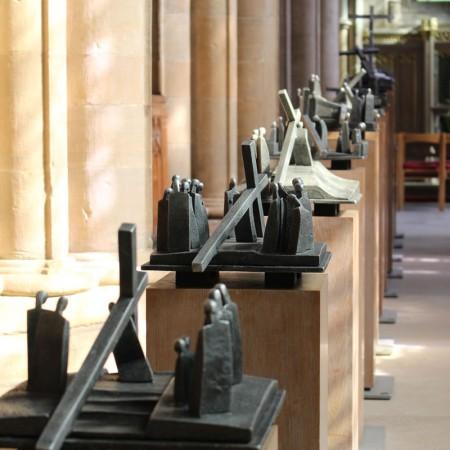 Stations of the Cross, Southwell Minster 1999 Aluminium on Oak